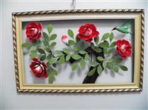 Quadro de metal 4 rosas